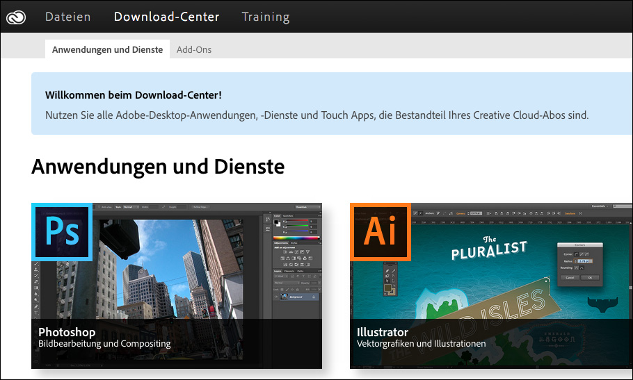 adobe cretaive cloud webseite mit apps